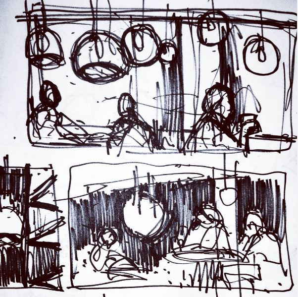Starbucks Leith Interior Sketch Study