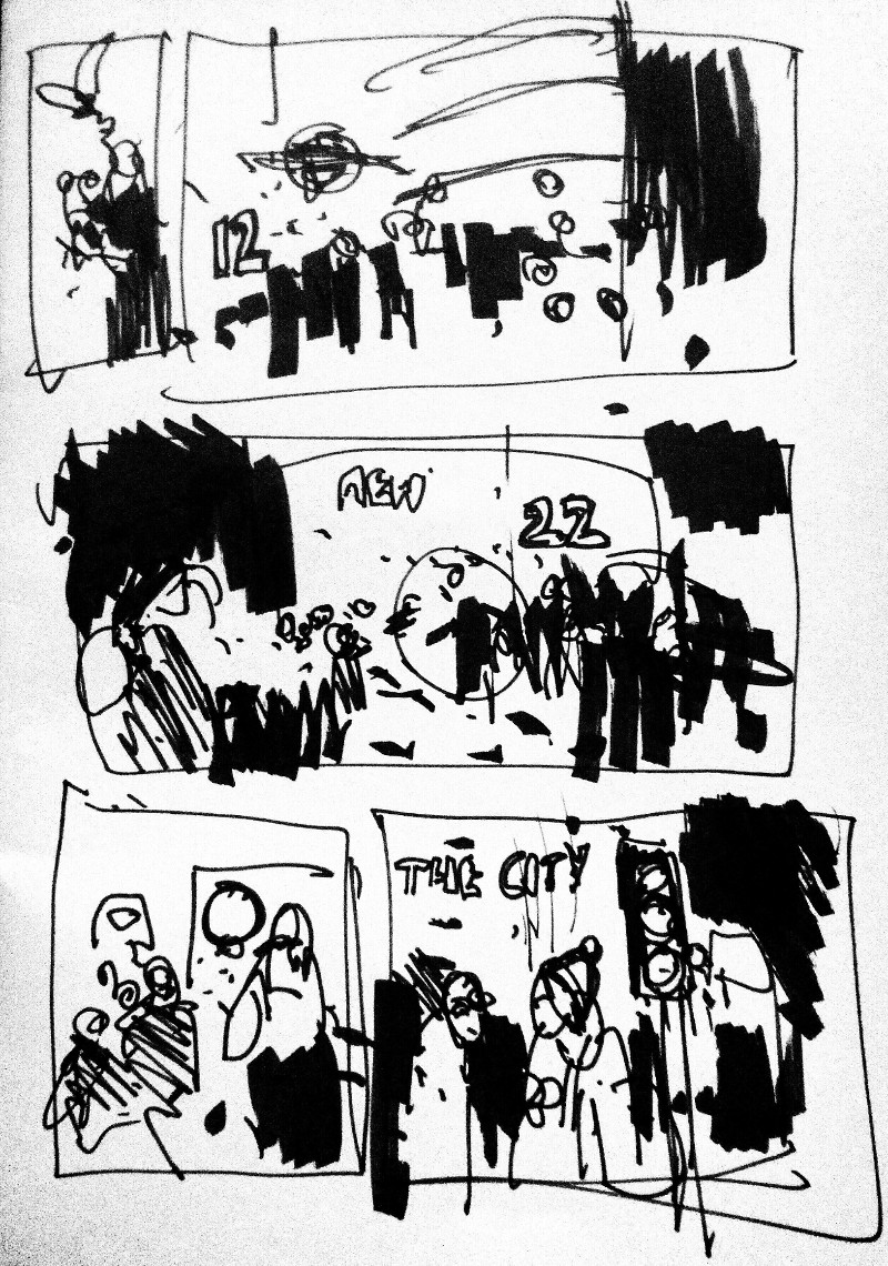 crowds Piccadilly Circus sketch