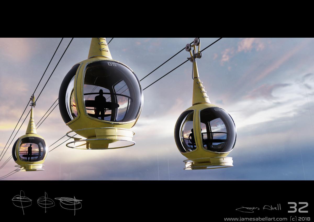 cable cars retro futuristic